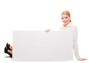 bussines woman with blank presentation board banner sign.の写真素材 [FYI00677513]
