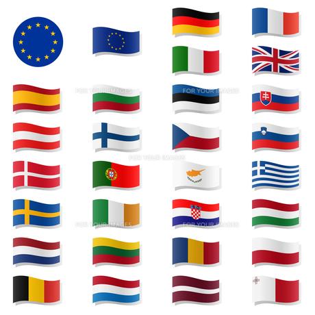 eu member states - flags swingingの写真素材 [FYI00677549]