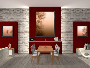 dining room with pictures on how to replaceの写真素材 [FYI00678079]