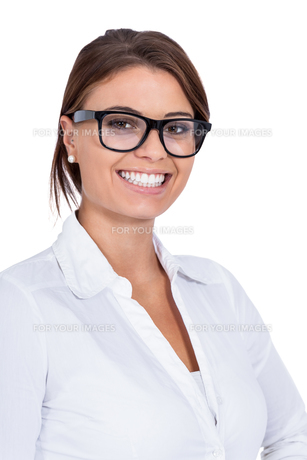 young laughing business woman with dark hairの素材 [FYI00681364]