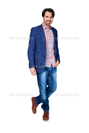 young man in trendy casual look with dark hairの写真素材 [FYI00681385]