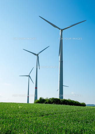 windmills,fields and blue skyの素材 [FYI00682928]