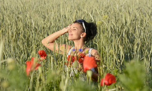 young woman in a cornfieldの写真素材 [FYI00682982]