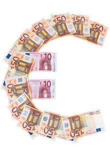 euro symbol made of euro banknotesの写真素材 [FYI00683262]