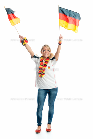 jubilant football with germany flagsの写真素材 [FYI00683454]