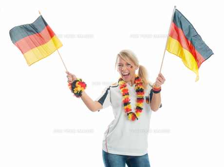 jubilant football with germany flagsの写真素材 [FYI00683456]