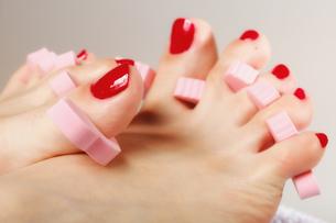 foot pedicure applying red toenailsの素材 [FYI00684055]