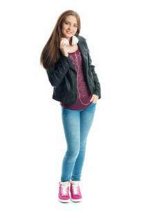 teenager with headphonesの写真素材 [FYI00684078]
