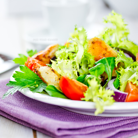 salad with chicken breast stripsの写真素材 [FYI00684532]