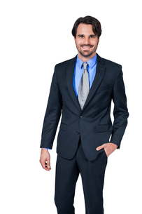 selbstbewuster young businessman with suit dark hair and beardの写真素材 [FYI00685584]