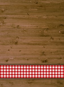 rustic wooden background with red stripes tableclothsの写真素材 [FYI00688153]