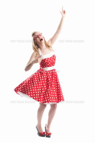 jubilant woman in rockabilly styleの写真素材 [FYI00691598]
