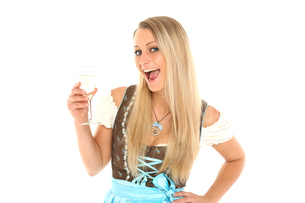 young woman with champagneの写真素材 [FYI00695423]