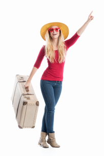 woman with travel suitcaseの素材 [FYI00695495]