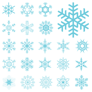 collection of different blue snowflakesの写真素材 [FYI00695868]