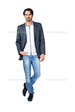 selbstbewuster man in casual clothes with dark hairの写真素材 [FYI00697391]
