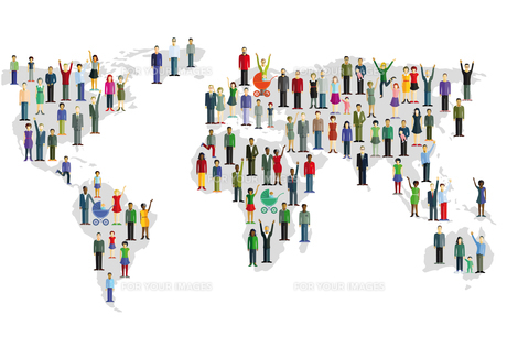 group of people who form a world mapの写真素材 [FYI00697396]