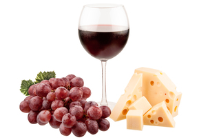 wine with grapes and cheeseの写真素材 [FYI00698322]