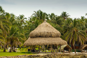 traditional house in the island mucur,colombiaの写真素材 [FYI00698918]
