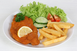 wiener schnitzel dish with fries,salad and lemonの写真素材 [FYI00699615]
