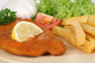 breaded schnitzel dish with fries,lemon and lettuceの写真素材 [FYI00699618]
