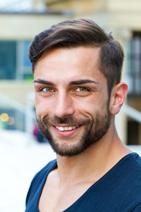 portrait of a young man with beardの写真素材 [FYI00699705]