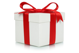 gift with bow for gifts at christmas,birthday or valentine's dayの写真素材 [FYI00700044]