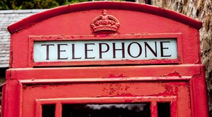 british phone booth in the open-air museum st.fagans - walesの写真素材 [FYI00700310]