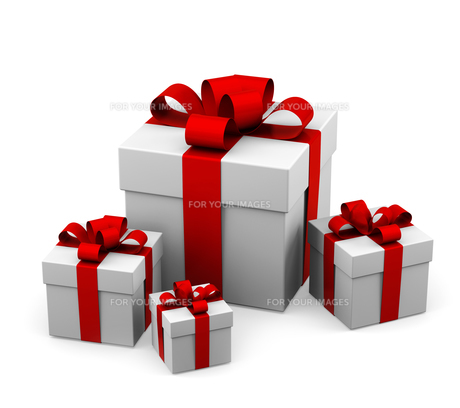 gifts with red bowの写真素材 [FYI00700829]