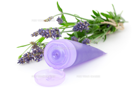 lavender soothing cream tube and lavender flower,isolated on whの素材 [FYI00702187]