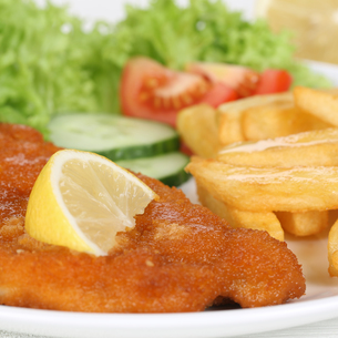 breaded wiener schnitzel menu with french fries on plateの写真素材 [FYI00702902]