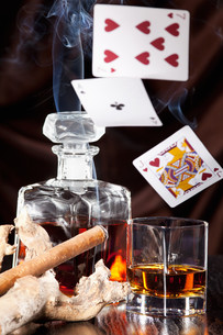 alcohol consumption,gambling and cigar smokeの素材 [FYI00704625]
