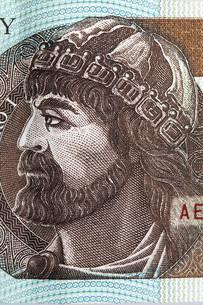 prince mieszko i of poland - portrait from polish moneyの写真素材 [FYI00705526]