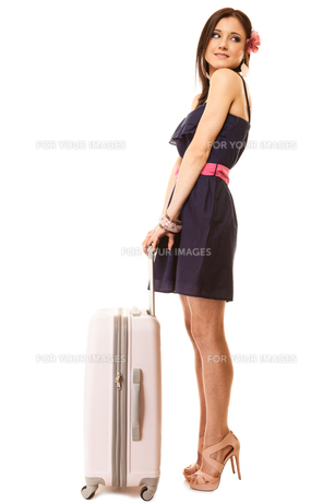 travel and vacation. woman with suitcase luggage bag.の素材 [FYI00706996]