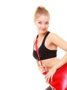 sport. fitness sporty girl in sportswear with gym bagの写真素材 [FYI00707013]