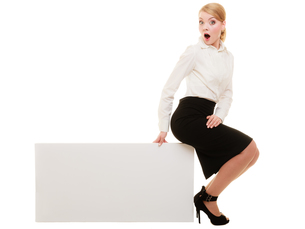 ad. businesswoman sitting on blank copy space bannerの写真素材 [FYI00707024]