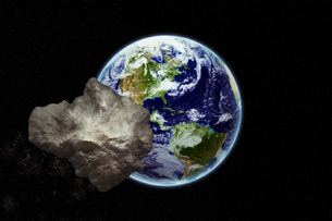 meteoirt hurtling towards earth - earth texture by nasa.govの写真素材 [FYI00707433]