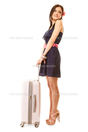 travel and vacation. woman with suitcase luggage bag.の素材 [FYI00707759]