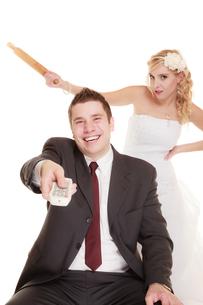 wedding couple having an argument conflict,bad relationshipsの写真素材 [FYI00707768]