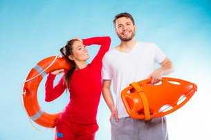 lifeguards on duty with equipmentの写真素材 [FYI00707819]