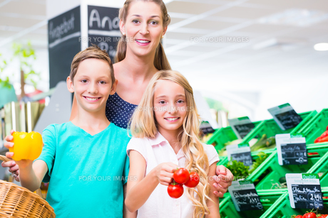 family out shopping at the organic marketの写真素材 [FYI00708314]
