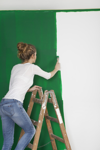 woman with brush on ladderの写真素材 [FYI00708962]
