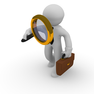 Business man with magnifying glassの素材 [FYI00709234]