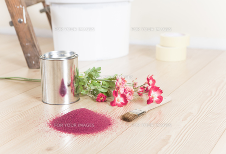 color selection for painting with flowersの写真素材 [FYI00709489]