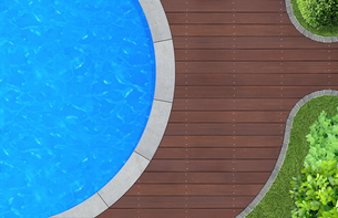 in swimming pool from above gardenの写真素材 [FYI00710826]
