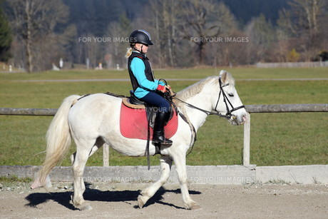 young girl riding on horseの写真素材 [FYI00712545]