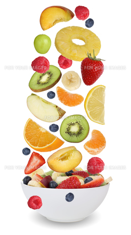 fruit salad with fruits such as orange,apple,banana and strawberryの素材 [FYI00715847]