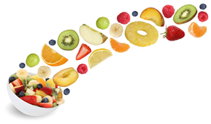 flying fruit salad with fruits such as orange,apple,banana and strawberryの素材 [FYI00715853]