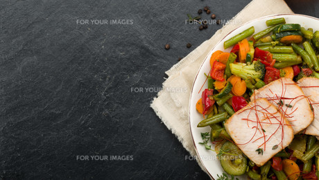 marinated pork with vegetables and honeyの写真素材 [FYI00716855]
