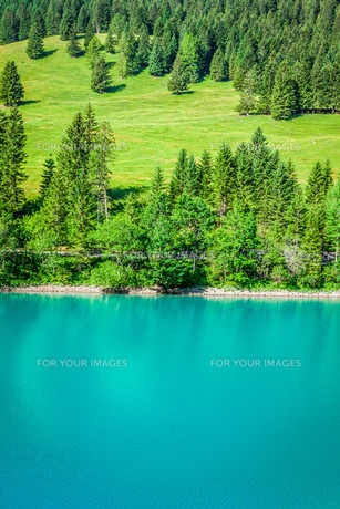 beautiful view mountain lake. steg,malbun in liechtenstein,europeの素材 [FYI00716968]